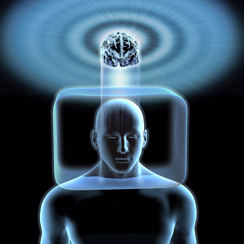 Stock Photo: 1428R-1287 Blue man with head inside box with brain is outside box in clouds above town below.