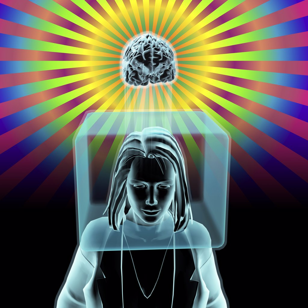 Stock Photo: 1428R-1293 Woman with head inside box and brain outside box in radiant rainbow