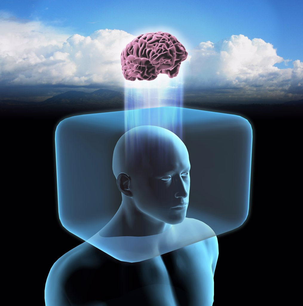 Blue man with head inside cage and brain outside in open field. : Stock Photo