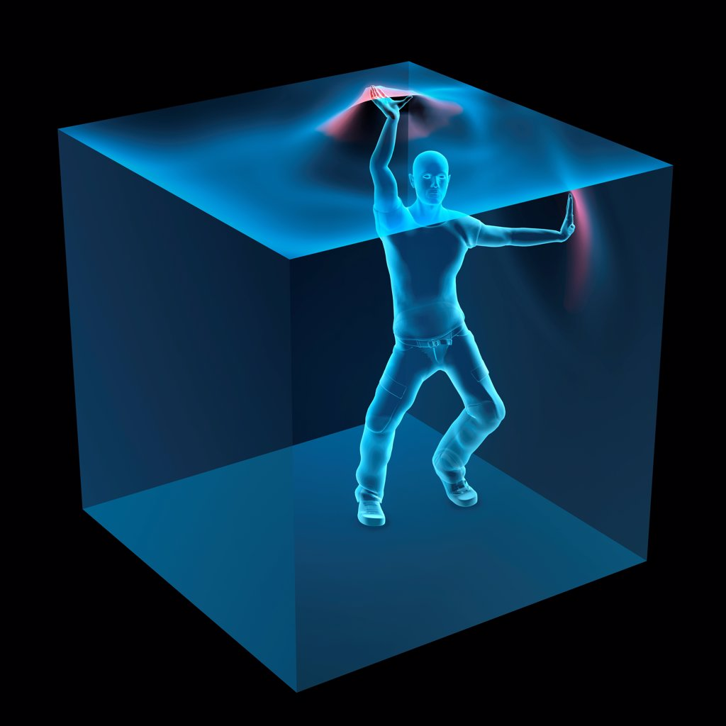 Stock Photo: 1428R-1412 3D Computer Illustration of man trapped inside blue transparent cube