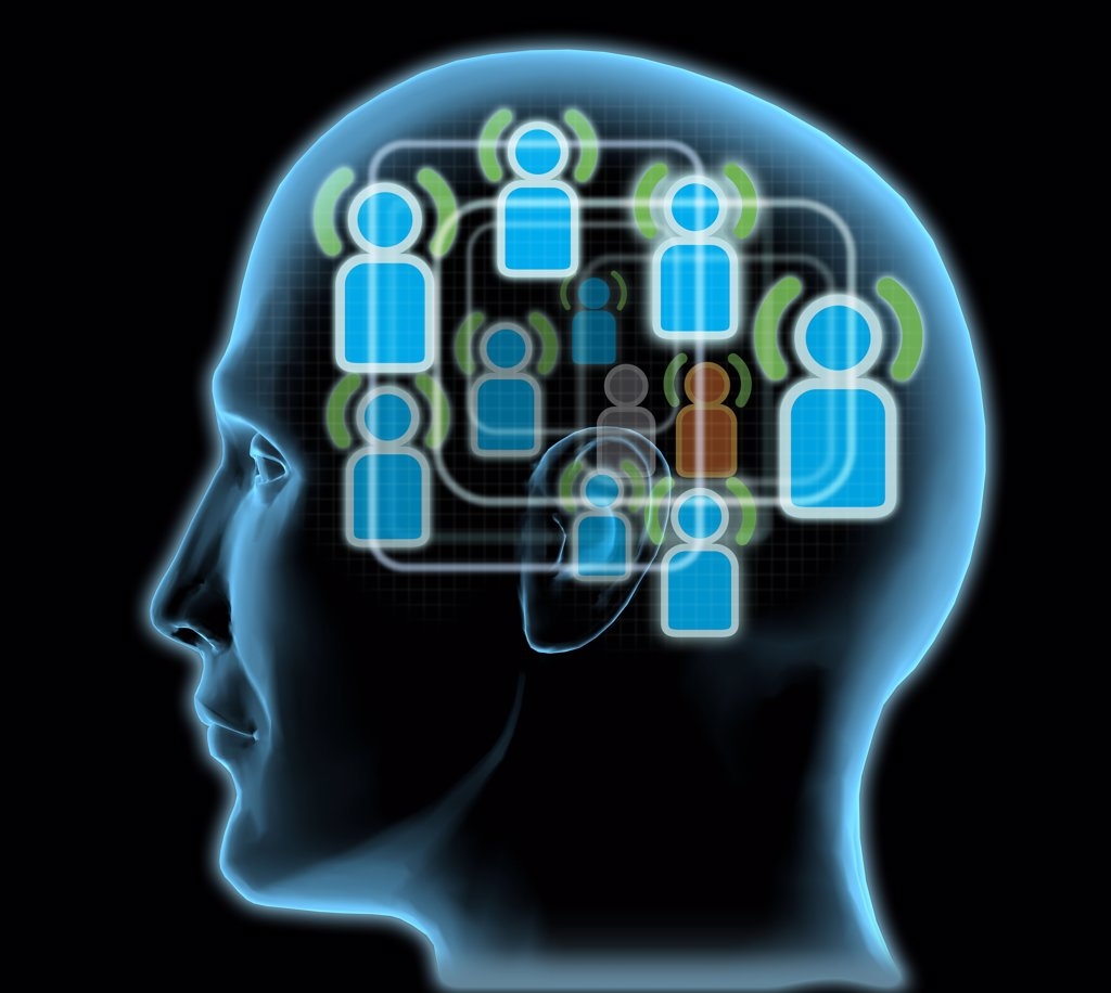 Close-up of a man's head with blue friends icons inside : Stock Photo