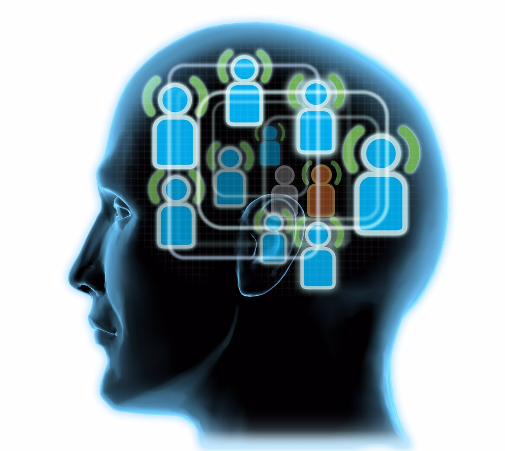 Stock Photo: 1428R-477 Close-up of a man's head with blue friends icons inside