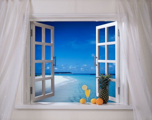 Stock Photo: 143-337 Beach viewed through a window