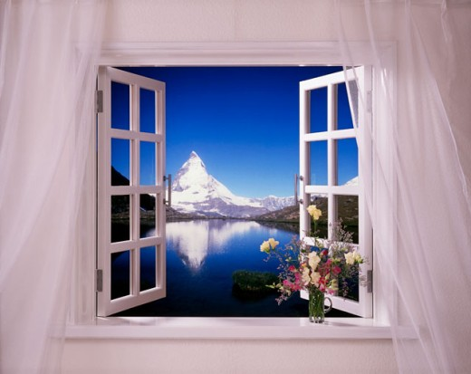 Stock Photo: 143-385A Mountain peak viewed from the window of a house