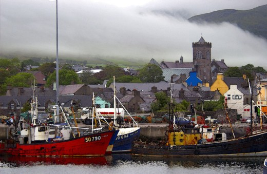 Stock Photo: 1432-233A Boats in a harbor, Dingle, County Kerry, Ireland