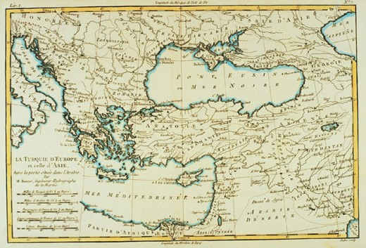 Southern Europe and Asia Minor, 18th century map : Stock Photo
