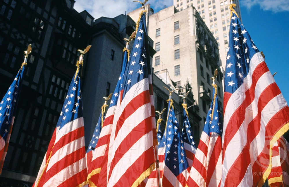 Flags of the United States of America : Stock Photo