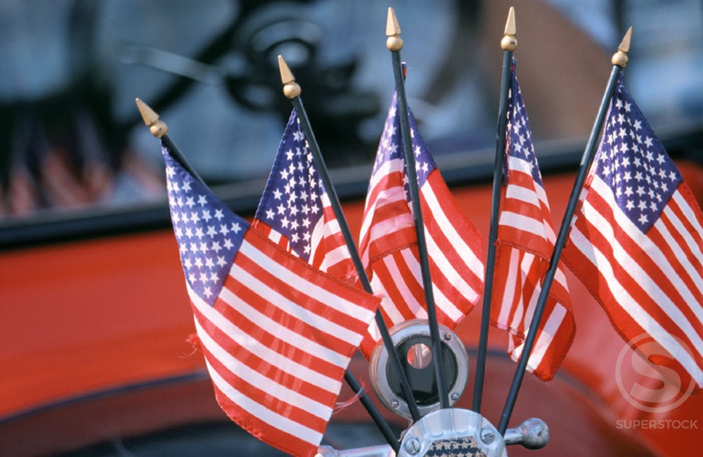 Stock Photo: 1436R-150076 Flags of the United States of America