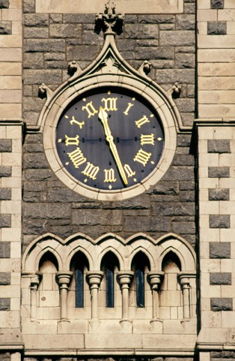 Stock Photo: 1436R-172016 Clock in steeple of Findlater´s Church, Dublin, Ireland
