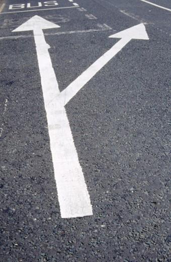 Bus lane and traffic lane arrows : Stock Photo