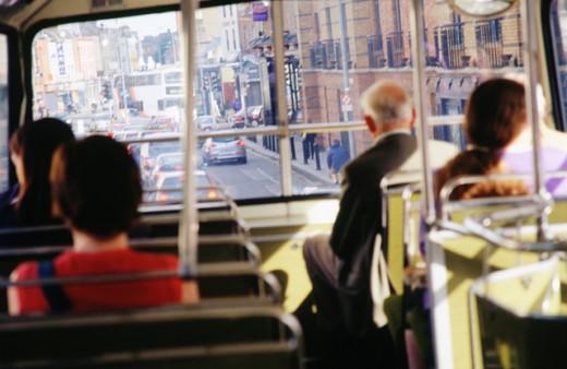 Stock Photo: 1436R-199045 Passengers on bus, Dublin
