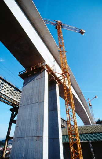 Stock Photo: 1436R-205013 Railway bridge construction. Ormaiztegui. Basque Country. Spain