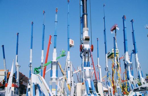 Construction cranes. Bologna. Italy : Stock Photo