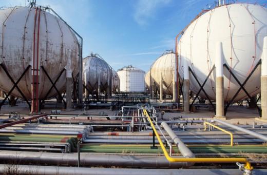 Gas tanks. Repsol-YPF oil refinery. Tarragona province. Spain : Stock Photo