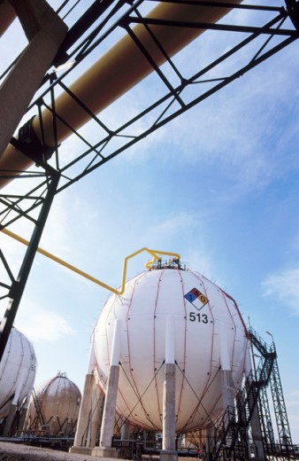 Gas tanks. Repsol-YPF oil refinery. Tarragona province. Spain : Stock Photo