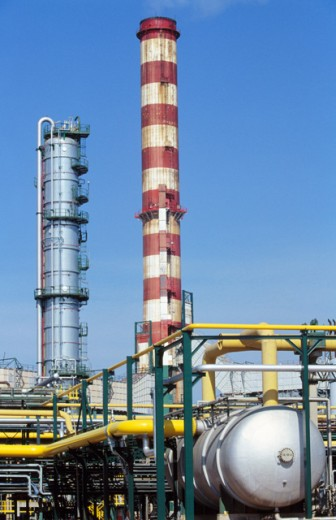 Stock Photo: 1436R-212087 Repsol-YPF oil refinery. Tarragona province. Spain