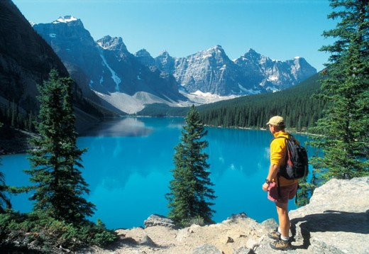 Lake Moraine, Rocky Mountains, Canada : Stock Photo