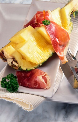 Pineapple with ham : Stock Photo