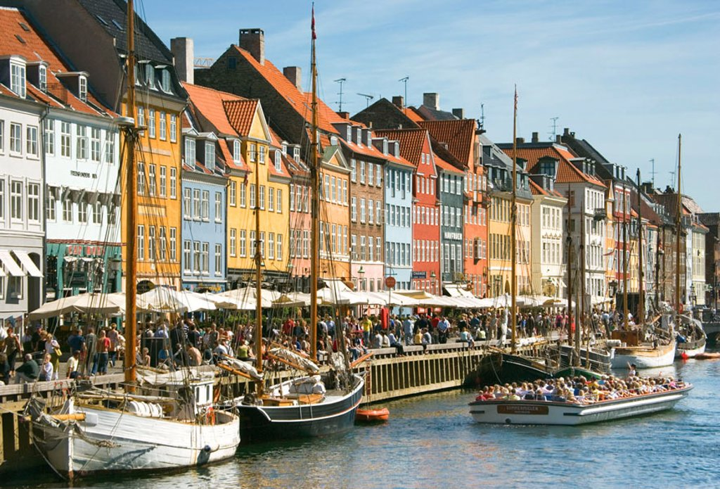 Typical architecture and boats at Nyhavn canal, Copenhagen, Denmark : Stock Photo
