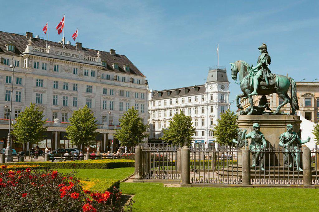 Statue of King Christian V, known as The Horse, Copenhagen, Denmark Kongens Nytorv. The Kings New Square. : Stock Photo