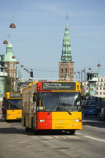 Stock Photo: 1436R-247863 Bus on Torvegade, Christianshavn, Copenhagen, Denmark