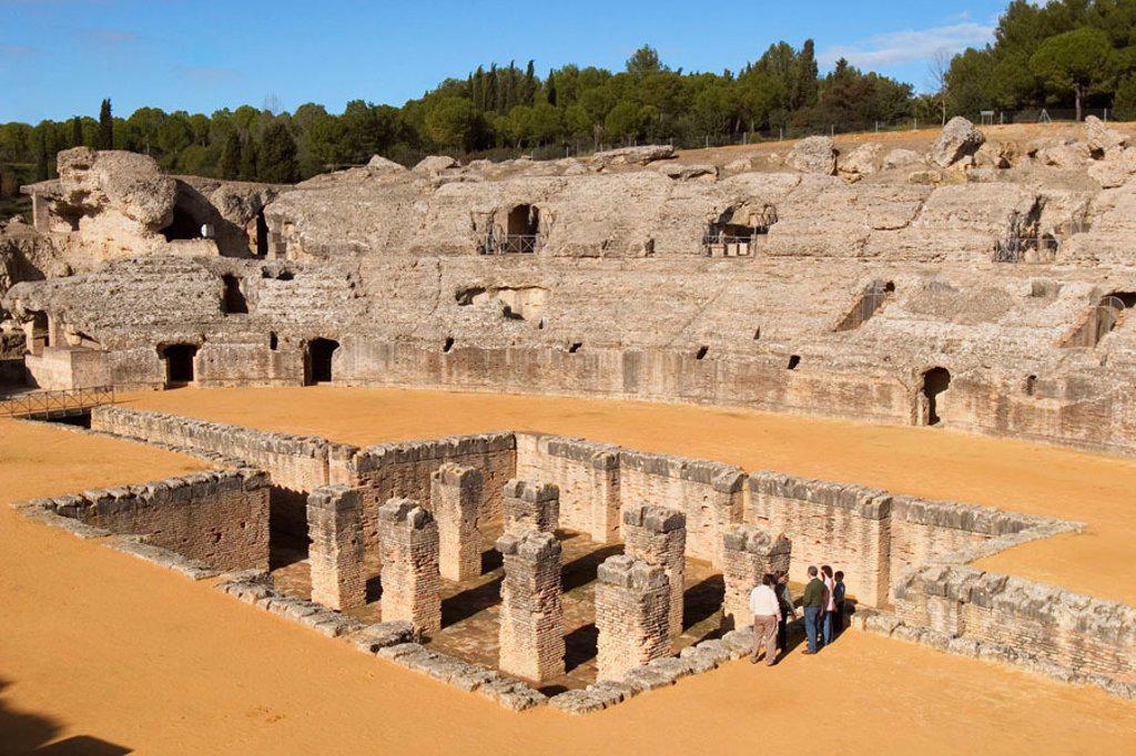 Roman amphitheatre at Italica. Sevilla province, Andalusia, Spain : Stock Photo
