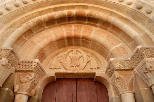 Detail of St. Stephen´s Romanesque church (12th century), Pelagalls. La Segarra, Lleida province. Catalonia, Spain : Stock Photo