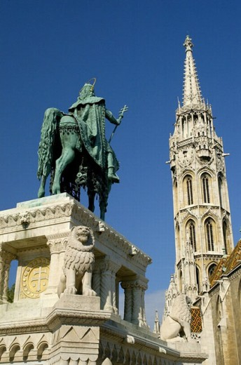 Equestrian monument. Matias church. Buda. Budapest. Hungary. : Stock Photo