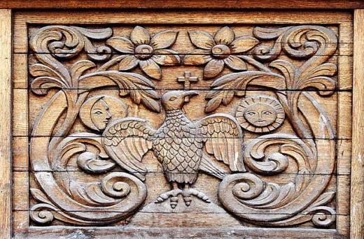 Carved wood plank - Sambata Monastery, southern Transylvania, Romania : Stock Photo