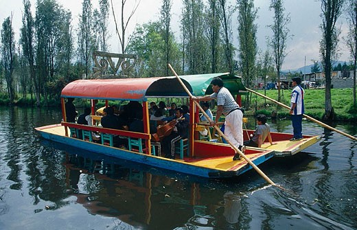 Stock Photo: 1436R-252977 Trajineras (traditional ornated rafts), Xochimilco. Mexico D.F., Mexico