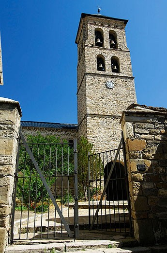 Parish church of Nuestra Señora de La Asunción tower (XVIIth century, baroque style). Senegüe. Pyrinees. Valle de Tena. Huesca province. Aragón. Spain. : Stock Photo