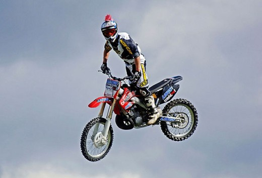 Motorbike Stunt display show at Stoneleigh Coventry England UK : Stock Photo