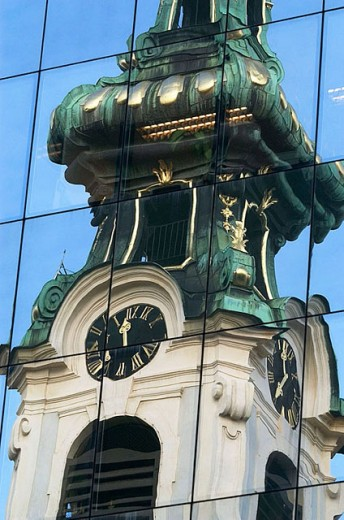 Stock Photo: 1436R-253713 Reflection of the Stiftskirche in an office building on the Stiftsgasse Vienna Austria Europe