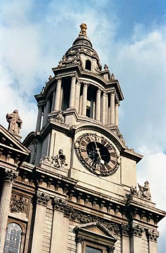 Great Britain, England, London, Saint Paul Cathedral, Main Facade, Clock Tower : Stock Photo