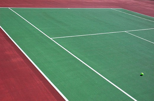 Tennis court and ball : Stock Photo