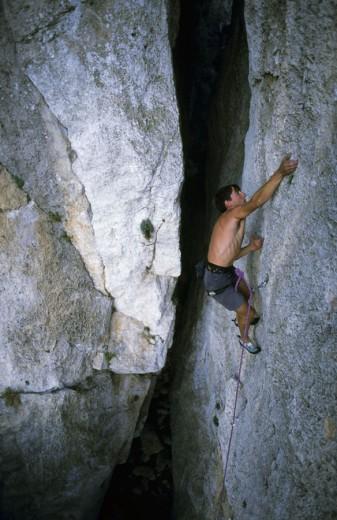 Rock climbing in Mont-Ral. Sierra de Prades. Tarragona. Cataluña. Spain. : Stock Photo