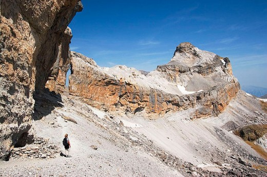 Stock Photo: 1436R-255996 Reaching the Brèche de Roland with El Casco peak at the back. Parque Nacional de Ordesa y Monte Perdido. Pyrinees. Spain-France border.