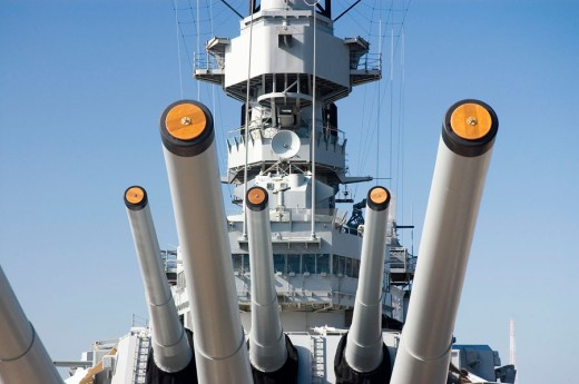 Stock Photo: 1436R-256594 Guns, USS Missouri battleship, Pearl Harbor, Oahu, Hawaii