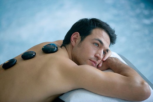 Stock Photo: 1436R-256697 Hot stone massage. Thalassotherapy Zelai, Zumaia, Gipuzkoa, Basque Country