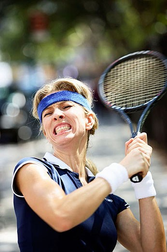 Stock Photo: 1436R-259097 Caucasian woman tennis player