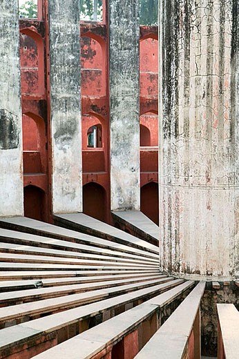 Giant sundial known as Prince of Dials in Jantar Mantar Observatory. New Delhi. India. : Stock Photo