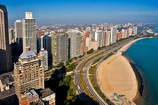 Stock Photo: 1436R-260100 Aerial view of Chicago. Illinois. USA.