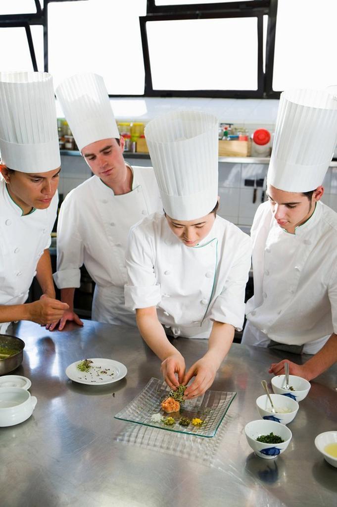 Salmon tartare. Luis Irizar cooking school. Donostia, Gipuzkoa, Basque Country, Spain : Stock Photo