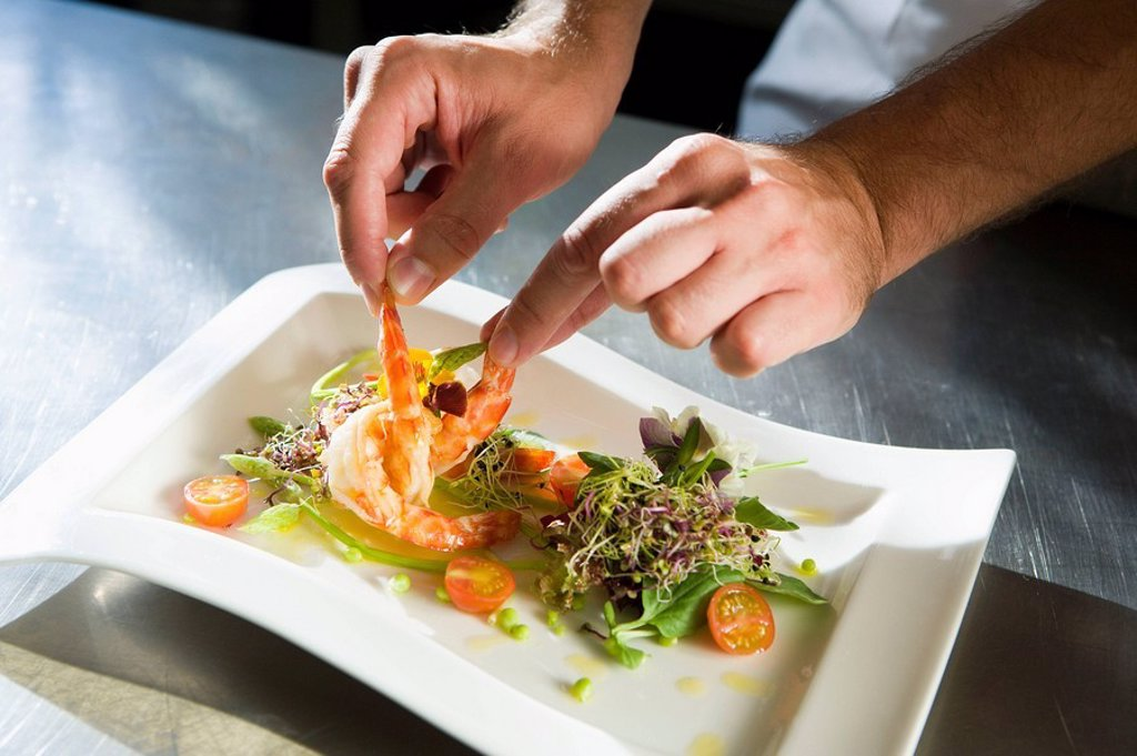 Stock Photo: 1436R-260814 Prawn salad. Luis Irizar cooking school. Donostia, Gipuzkoa, Basque Country, Spain