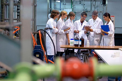 Stock Photo: 1436R-261692 Polytechnic School, University of the Basque Country, Donostia, Gipuzkoa, Basque Country. Students, Distillation towers, Laboratory of Industrial Chemistry, Department of Chemical Engineering and Environment