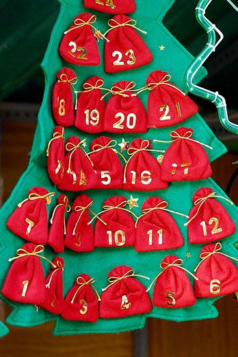 Advent calendar. Fira de Santa Llúcia, Barcelona, Catalonia, Spain : Stock Photo