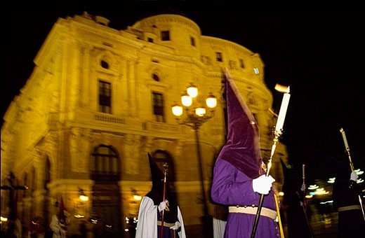 Stock Photo: 1436R-271123 Holy Week procession in front of Arriaga theatre, Bilbao. Biscay, Euskadi, Spain