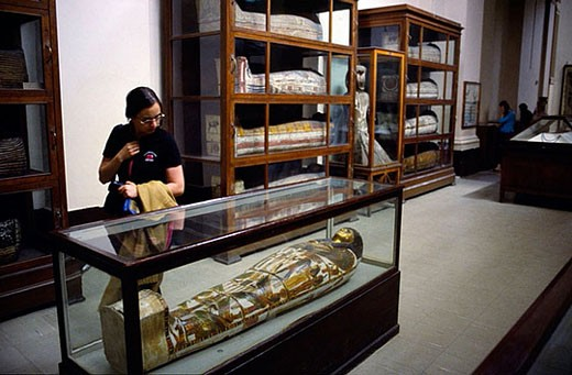 Mummies at Egyptian Museum, Cairo. Egypt : Stock Photo
