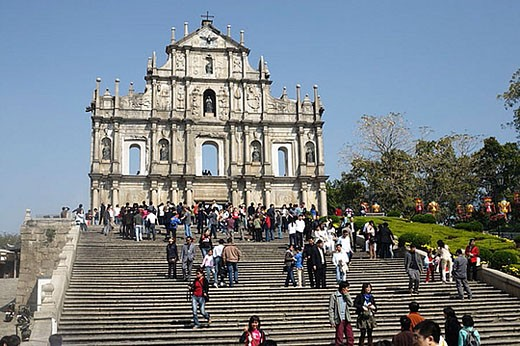 Stock Photo: 1436R-271778 Stairs leading upward to the ruins of St. Paul´s Cathedral, Macau, China, Asia