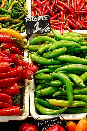Hot peppers at La Boqueria market, Barcelona. Catalonia, Spain : Stock Photo